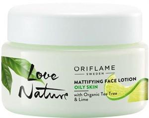 Oriflame Love Nature Mattító Arcápoló Lotion Organikus Teafával és Limeal