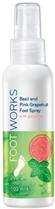 Avon Foot Works Rózsaszín Grépfrút és Bazsalikom Lábápoló Spray Glicerinnel