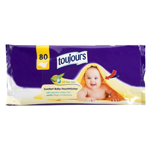 Toujours Comfort Baby Wipes With Aloe Vera Popsitörlő
