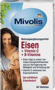 Mivolis Vas + C-Vitamin + B-Vitaminok Étrend-Kiegészítő Tabletta