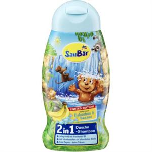 SauBär 2in1 Tusfürdő és Sampon Mentolos Cukorka és Banán Illattal