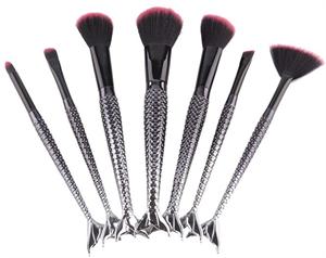Black Mermaid Makeup Brush Set 7pcs