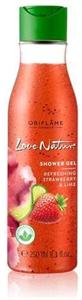 Oriflame Love Nature Radírozó Tusolózselé Frissítő Eperrel és Lime-mal