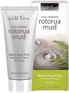 Wild Ferns Rotorua Iszap Melegítő Arcpakolás Gyömbérrel és Szegfűszeggel