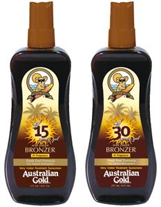 Australian Gold Spray Gel + Bronzer SPF 6, 10, 15 vagy 30