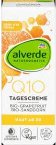 Alverde Q10 Nappali Arckrém Bio Grapefruittal és Bio Homoktövissel, 30 Év Feletti Bőrre