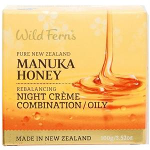 Wild Ferns Manuka Mézes Éjszakai Krém Kombinált/Zsíros Bőrre