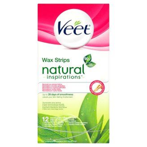 Veet Wax Strips Natural Inspirations Használatra Kész Hideggyanta Szalagok Normál és Száraz Bőrre