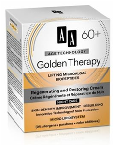 AA Age Technology Golden Therapy 60+ Regeneráló, Bőrújrastruktúráló Éjszakai Arckrém