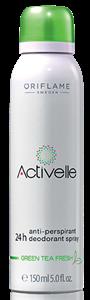 Oriflame Activelle 24 Órás Izzadásgátló Dezodoráló Spray Zöld Teával