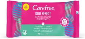 Carefree Duo Effect Intim Törlőkendő Zöld Teával és Aloe Verával