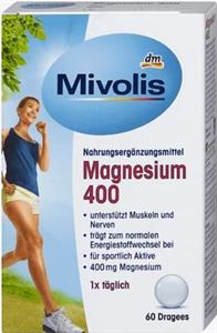 Mivolis Magnézium 400 Étrend-Kiegészítő Drazsé Édesítőszerrel