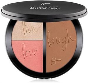 IT Cosmetics Your Most Beautiful You Anti-Aging Matte Bronzer, Radiance Luminizer & Brightening Blush Palette
