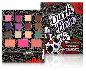 BH Cosmetics Dark Rose Szemhéjpúder és Pirosító Paletta, Folyékony Tussal