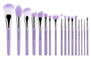 Bdellium Tools Purple Bambu Precision 17Pc. Brush Set With Roll-Up Pouch