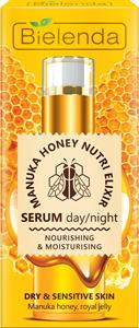 Bielenda Manuka Honey Nutri Elixir Tápláló és Hidratáló Hatású Szérum Száraz és Érzékeny Bőrre