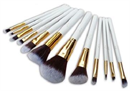 Jessup 12 pcs Synthetic Hair Brush Set White/Gold