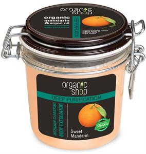Organic Shop Édes Mandarin Intenzív Mélytisztító Bőrradír Bio Mandarin és Argán Olaj Kivonattal