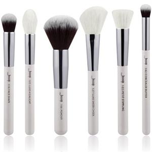 Jessup 6pcs Face Brush Set Pearl White/Silver