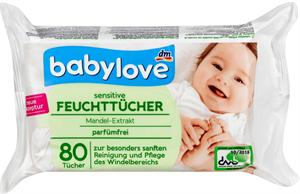 Babylove Nedves Törlőkendő Érzékeny Bőrre Mandulakivonattal