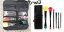 MSQ Dark Blue 10 Piece Makeup Brush Set with PU Leather Bag