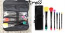 MSQ Dark Blue 10 Piece Makeup Brush Set with PU Leather Bag